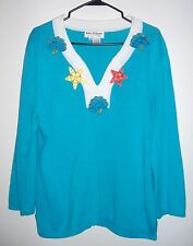JACK.B. QUICK XL SWEATER TURQUOISE SHELLS EXCLUSIVE OF DECORATION 3/4 SLEEVE