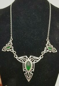 TNC 925 NLP.INC USA EMERALD NECKLACE ART NOUVEAU STYLE ABSOLUTELY STUNNING