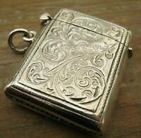A Pretty Antique Style English Hallmarked Sterling Silver Vesta Case Match Safe