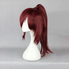 Dark Wine Red Anime Cosplay  Hair Women Basic Short Wig With Ponytails