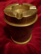 Vintage Indian Heavy Brass Ashtray Container  Cylindrical Engraved floral Design