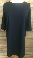 Gap Navy Blue Dress Size 16 3/4 Sleeve Scoop Neck Rayon Blend Back Zipper
