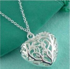 925 Sterling Silver Plated 3D Hollow Filigree Flower Heart Pendant Necklace 18""
