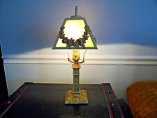 Antique AMW LAMP METAL WITH SLAG GLASS SHADE FOR RESTORATION