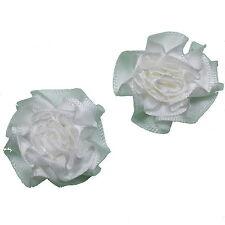 Satin Ribbon Rosettes Flowers Roses 3cm Wide White 4