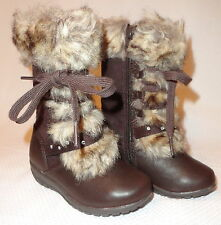 Girls Winter Snow Boots Size 8 Dark Brown Kids Shoes New Free Shipping
