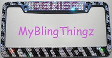 NAME & ZEBRA Crystal Rhinestone License Plate Frame made with Swarovski Elements