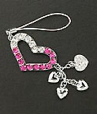 Cell Phone Charm Silver Plated Crystal Heart Christmas Gifts Free Shipping Pink