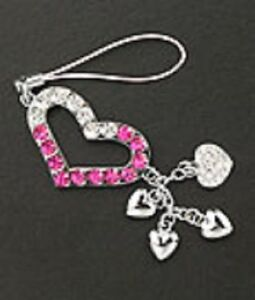 Cute Cell Phone Strap Heart Charm Pink Crystal Christmas Gift Silver Plated