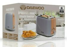 Daewoo Stockholm 2 Slice 6 Time Settings Grey Matte Finish Wood Effect Toaster