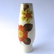 Vintage Pottery VASE White Floral Yellow Orange Tall H30cm Mid Century 1960/70s