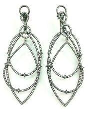 Long 925 Sterling Silver Dangle Earrings Black Rhodium White round celeb inspire