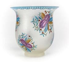 c1900 Continental Glass Vase Hand painted - acid cut texture, Handpainted Floral