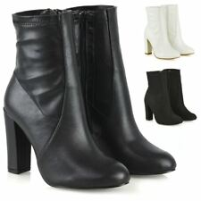Womens High Rise Block Heel Zip Up Shoes Ladies Round Toe Stretch Sock Boots 3-8