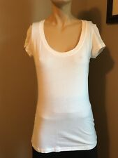 71bea98439c3d TRESICS SOLID WHITE ROUND NECK CAP SLEEVE TEE SHIRT!! SZ