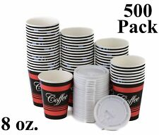 500 Pack 8 Oz. Disposable Poly Paper Hot Tea Coffee Cups with Flat White Lids