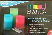 3x MOOD MAGIC COLOUR CHANGING CANDLES (with remote control) - BRAND NEW - SEALED