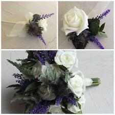 Thistle Artificial Wedding Flowers - Brides Bouquet - Bridesmaid - Buttonhole