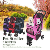 Foldable Dog Stroller Pet Travel Carriage for Pets with Detachable Carrier Car