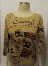 Women's  Bit & Bridle Top Pullover 3/4  Sleeve Sequins  Size Large
