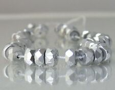 ++ 25 Silver Rondelle Czech Glass Beads 6x3mm Fire Polished