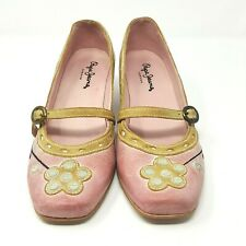 Pepe Ladies Shoes UK 4 Pink Leather Mary Janes Square Toe Wedge Heel Flower