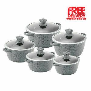 SQ GREY Granite Die Cast Non-stick Cooking /Casserole Pot SINGLE PIECE/FULL SET