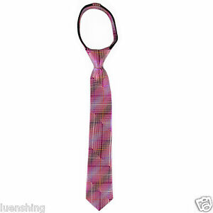 New Kids Boys Zipper Adjustable Pre-tied Neck tie Pink Cream Blue Stripes formal