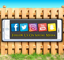 Follow Us On Social Media Advertising Vinyl Banner Flag Sign 15 18 20 30 52