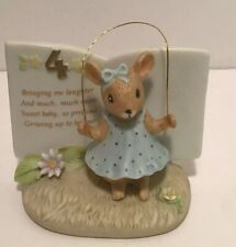 Cute Vintage 1983 Porcelain Enesco 4th Book Mouse With Jump Rope