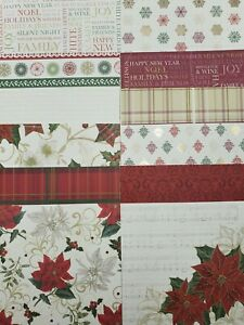 """12 x  First Noel 6"""" x 6"""" Papers  For Christmas Cardmaking & Scrapbooking"""