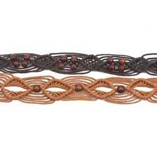 Women Woven Waist Band Knitted Belt Knotted Beaded Waist Chain Pants Belt C