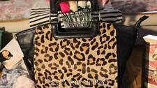 F & A Designer Leather Handbag Genuine Black Cowhide & Leopard Print 2nd