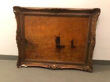 Altes Gemälde in Goldrahmen - Schiffe drauf - Bild Wandbild Malerei Kunst Antik