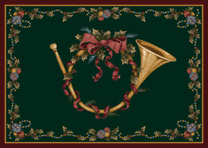 """2x4 Milliken French Horn 00350 Garland Christmas Area Rug - Approx 2'8""""x3'10"""""""