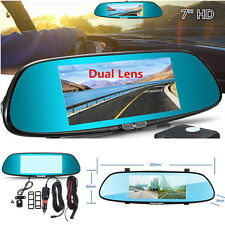 7'' HD 1080P Dual Lens Car Dash Cam DVR Video Camera Recorder w/ Rearview Mirror