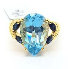 14k Yellow Gold Blue Topaz Sapphire Ring. November September Birthstone