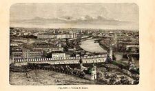 Stampa antica MOSCA Москва panorama Russia 1889 Antique print античный печать