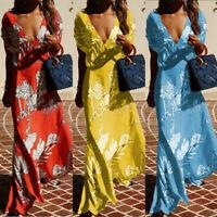 UK Womens Holiday Sleeveless Ladies Maxi Long Summer Print Beach Dress Size 8-16