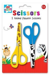 Pack 2 Animal Print Pattern Childrens Kids Safety Scissors Arts & Craft School