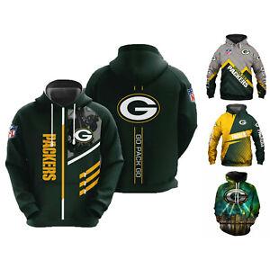 Green Bay Packers Hoodies Pullover Hooded Sweatshirt Football Casual Jacket Tops