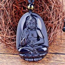Pendentif BOUDDHA Heureux Lotus pierre ONYX Sculpté- Main avec collier 67 perles