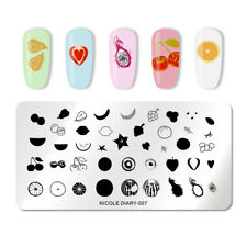 NICOLE DIARY Rectangle Nail Stamping Template Fruit Image Print Manicure DIY