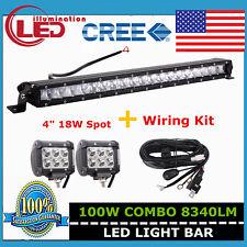 21inch 100W Cree Slim Single Row LED Light Bar +Wiring Kit +2X 18W Spot Lights