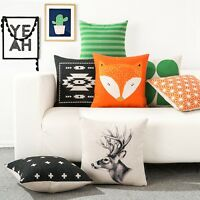 Gift Leaf Fox Deer Geometry Decor Pillow Case Cushion Cover Square Oblong Linen