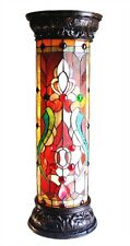 """30"""" Tall Victorian Tiffany Style Stained Cut Glass Pedestal Floor Lamp"""