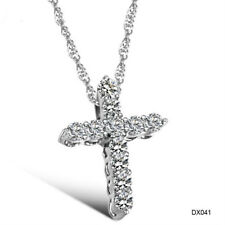 CIFBUY JEWELRY SILVER COLOR SHINING Cubic Zirconia CROSS PENDANT NECKLACE CHAIN