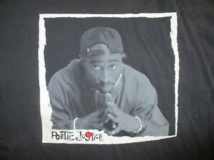 TUPAC SHAKUR POETIC JUSTICE T SHIRT Lucky Knight Licensed Retro 90s Black Tee XL