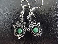 Plata Tibetana Fatima Mano Hamsa & Green Jade Perla pendientes