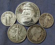 LOT 4 US SILVER COINS & 1 OZ .999 SAILSHIP ROUND 1915 D BARBER & 1936 HALF $